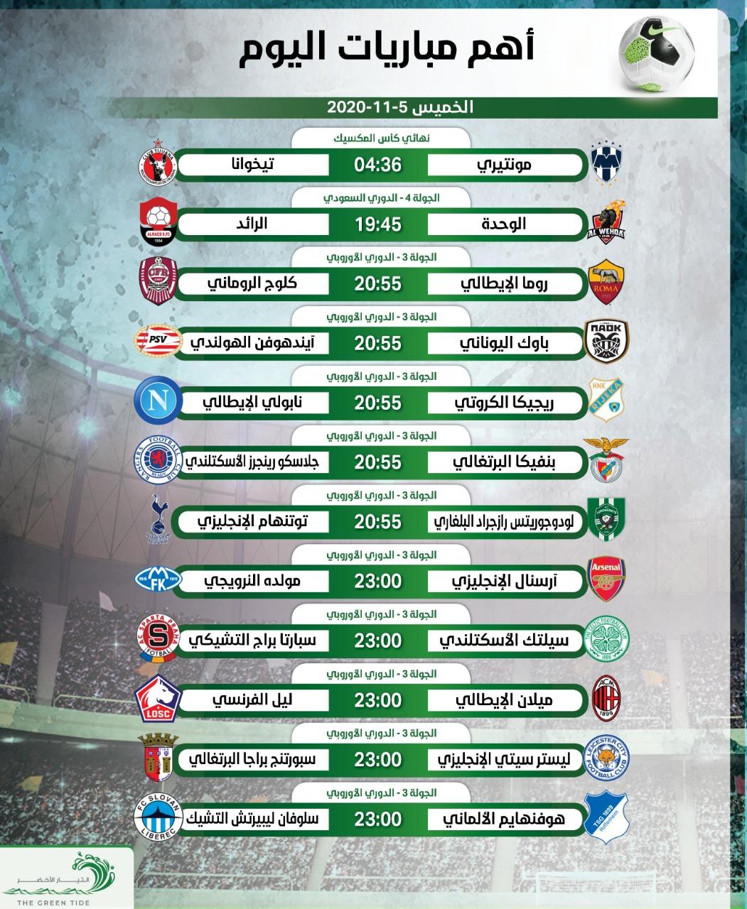 أهم مباريات اليوم الخميس 5-11-2020.